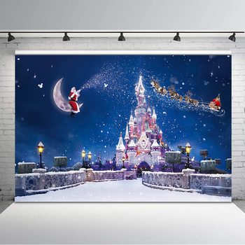NeoBack Christmas Castle Backdrop Santa Claus Gift Photography Backdrops Winter Snow Children Backgrounds for Photo Studio kate photography backdrop newborn photography background cartoon daily children backdrops kids wall photo backgrounds for studio