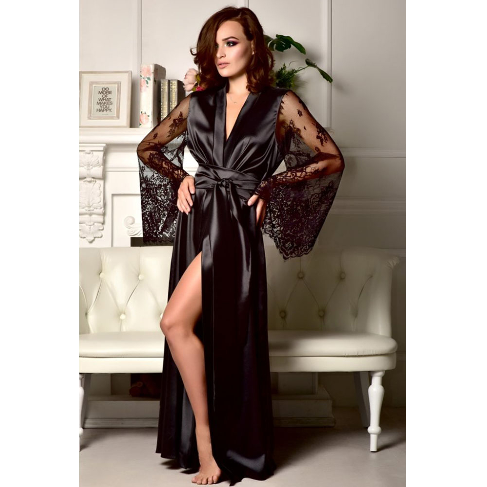 Hirigin Sexy Women Satin Lace Robe Long Sleeve Loose Bathrobe Kimono Bobydoll Nightwear Deep V Bathrobe Sleepwear With Belt