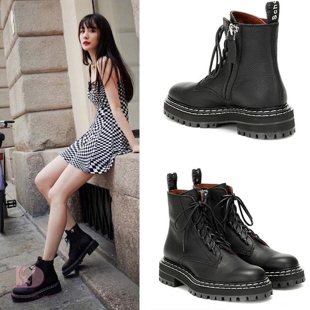 Doratasia 2020 빅 사이즈 43 패션 오토바이 부츠 브랜드 디자인 발목 부츠 여성 신발 신발 끈 멋진 신발 여성 부츠 여성