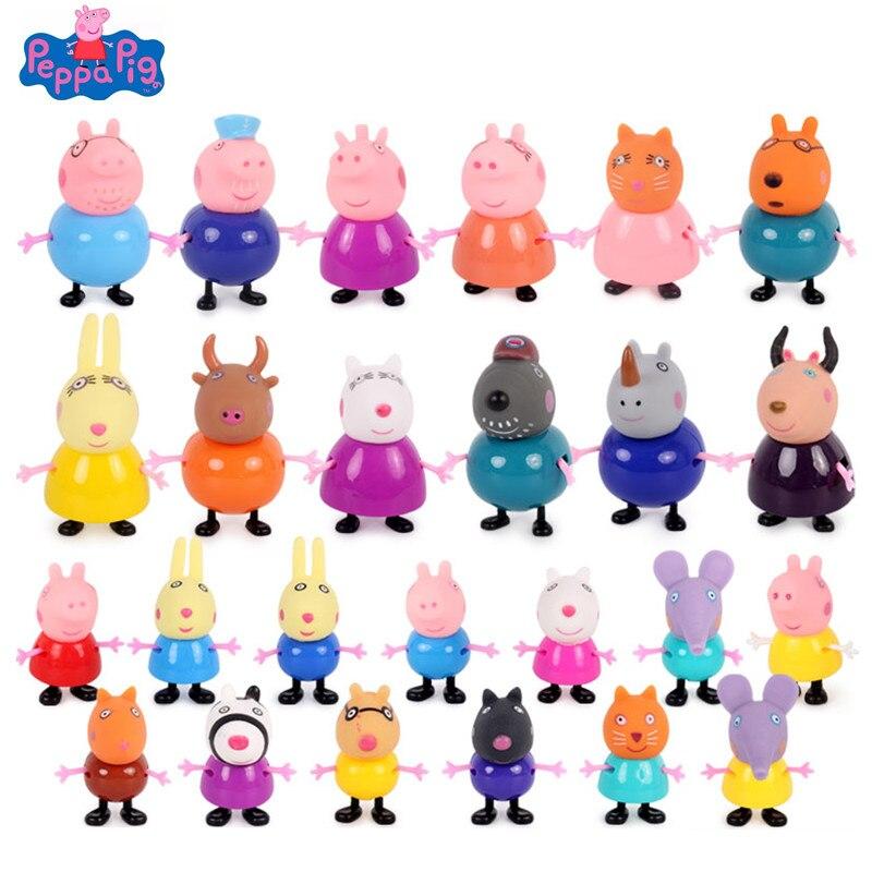 25 шт./компл. оригинальный Свинка Пеппа игрушки куклы свинка Джордж» для мамы и папы свиньи друг аниме фигурки Модель Детские куклы на день ро...