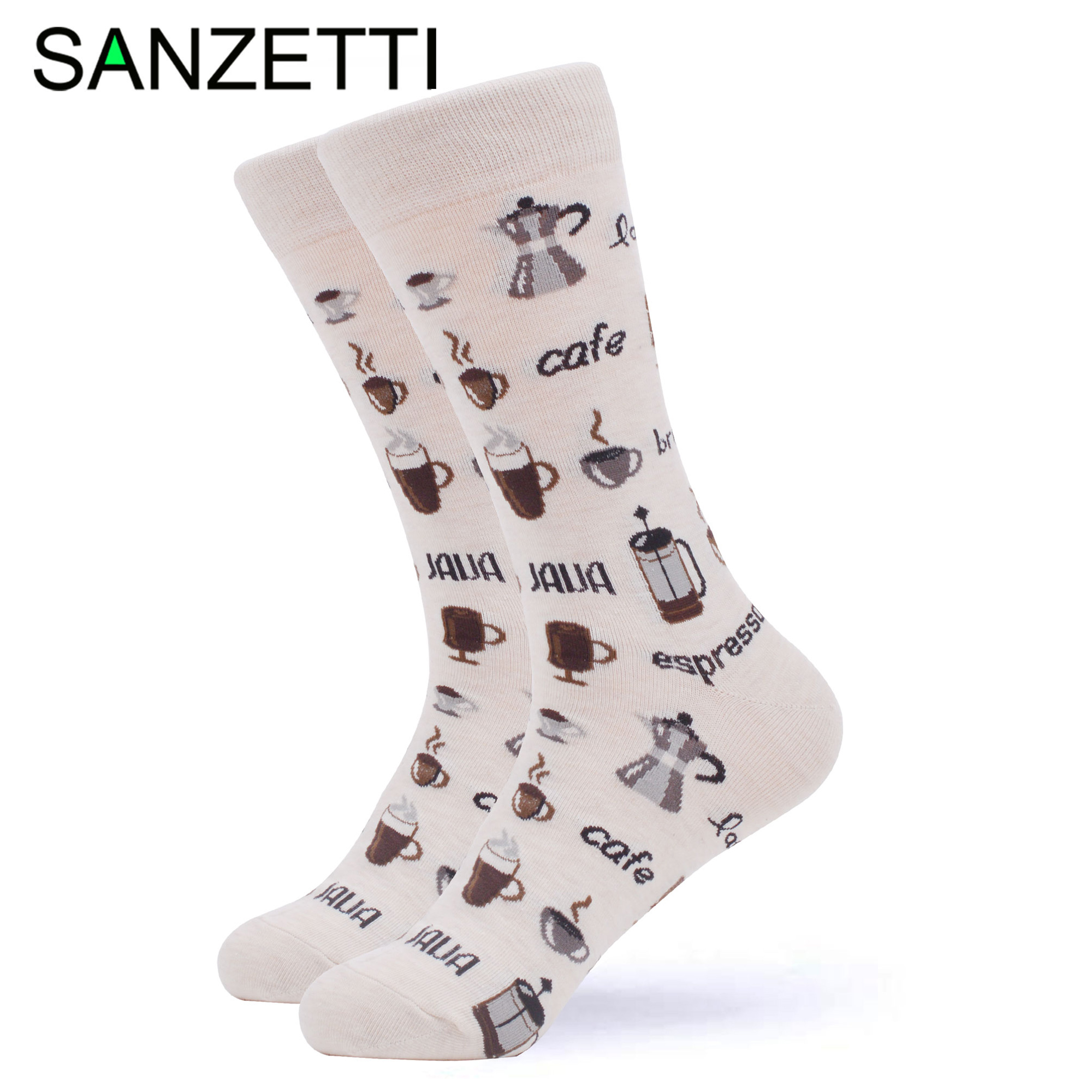 SANZETTI 1 Pair Colorful Bright Women Socks Novelty Combed Cotton Fun Cute Party Cake Coffee Egg Gifts Wedding Dress Happy Socks