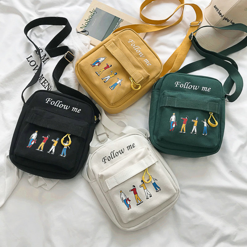 2019 Women Concise Bag Fashion Durable Canvas Crossbody Bag Personality Cool Cartoon Pattern Shoulder Bag