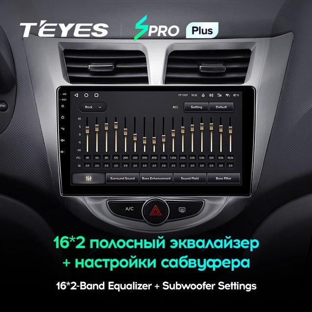 TEYES SPRO Plus Штатная магнитола For Хендай Солярис 1 For Hyundai Solaris 1 2010 - 2016 Android 10, до 8-ЯДЕР, до 4 + 64ГБ 32EQ + DSP 2DIN автомагнитола 2 DIN DVD GPS мультимедиа автомобиля головное устройство 3