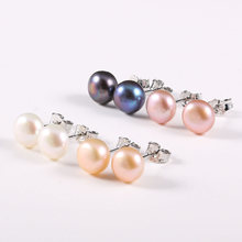 Genuine Natural Pearl Stud Earrings for Women 4 Colors 100% Silver Freshwater Earring Jewelry Gift