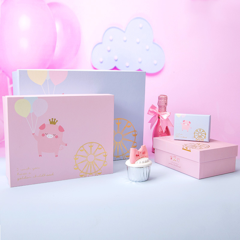 child cartoon <font><b>large</b></font> <font><b>gift</b></font> <font><b>box</b></font> <font><b>packaging</b></font> pink blue carton cute pig <font><b>gifts</b></font> bag коробка упаковка paper traktatie kinderen verjaardag image