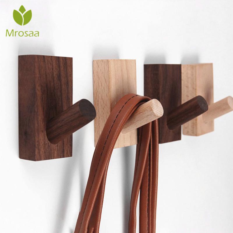 Natural Wood Clothes Hanger Wall Mounted Coat Hook Wall Decorative Key Holder Hat Scarf Handbag Storage Hanger Bathroom Rack
