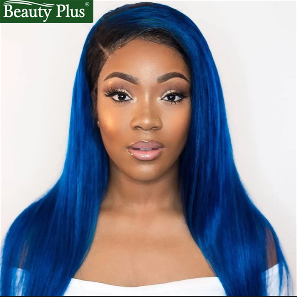 Brazilian Straight Wig With Baby Hair 1B Blue 150% Density Lace Front Human Hair Wigs 13X4 Preplucked Color Wigs Human Remy Hair