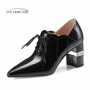 New Shallow Women Pumps Genuine Leather High Heels Office Dancing Shoes Woman Spring Autumn Lace Up Classic Shoes Steinmeier