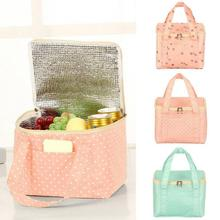 Portable Lunch Bag Thermal Insulated Cold Keep Food Safe Snack Box Dot Travel Picnic Pouch For Girls Women
