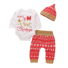 My First Christmas Girl Clothes 3Pcs Baby Set Letter Print Tops Bodysuit+Trousers+Cap Outfits D35