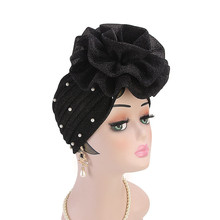 Women Glitter Beaded Hijabs Turban Big Elastic Headwear Wedding Party Pleated Wrap Hair Loss Cap Muslim Hair Accessories