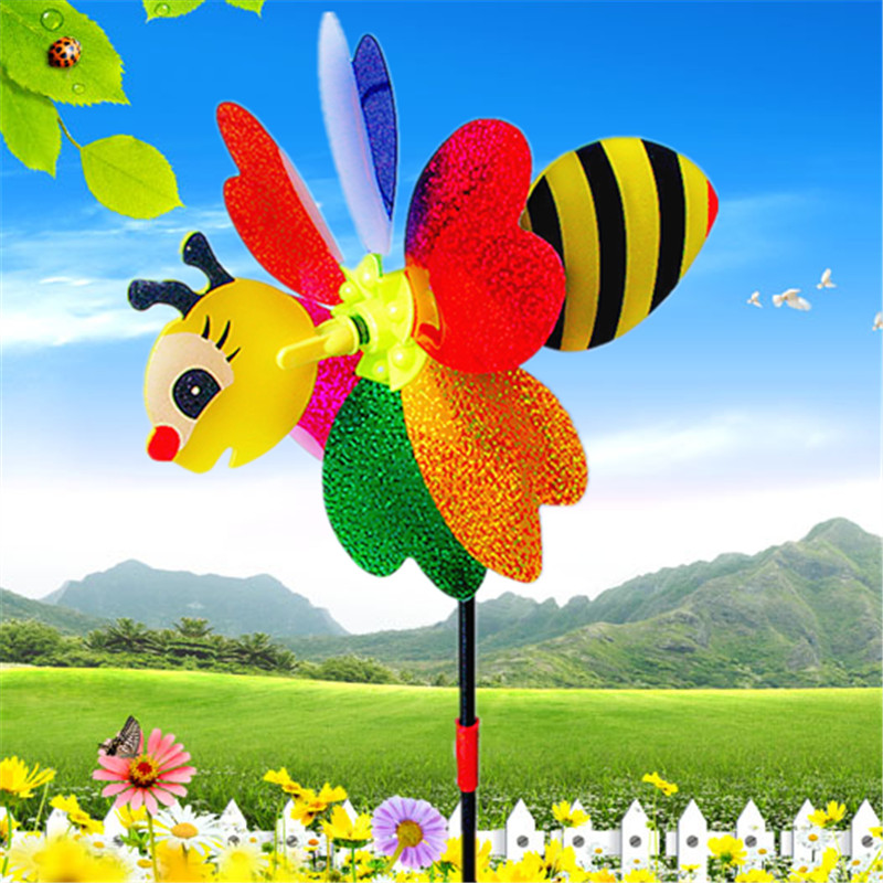Bee Windmill Cute Colorful 3D Insect Pinwheel Wind Spinner Whirligig Toys Yard Garden Decor Outdoor Lawn Decor Color Random