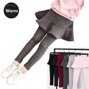 Autumn Winter Girls Pants Skirt Kids Plus Velvet Leggings 3-13Y Children Clothing Cotton Leggings Warm Baby Girl Skirt-pants(China)