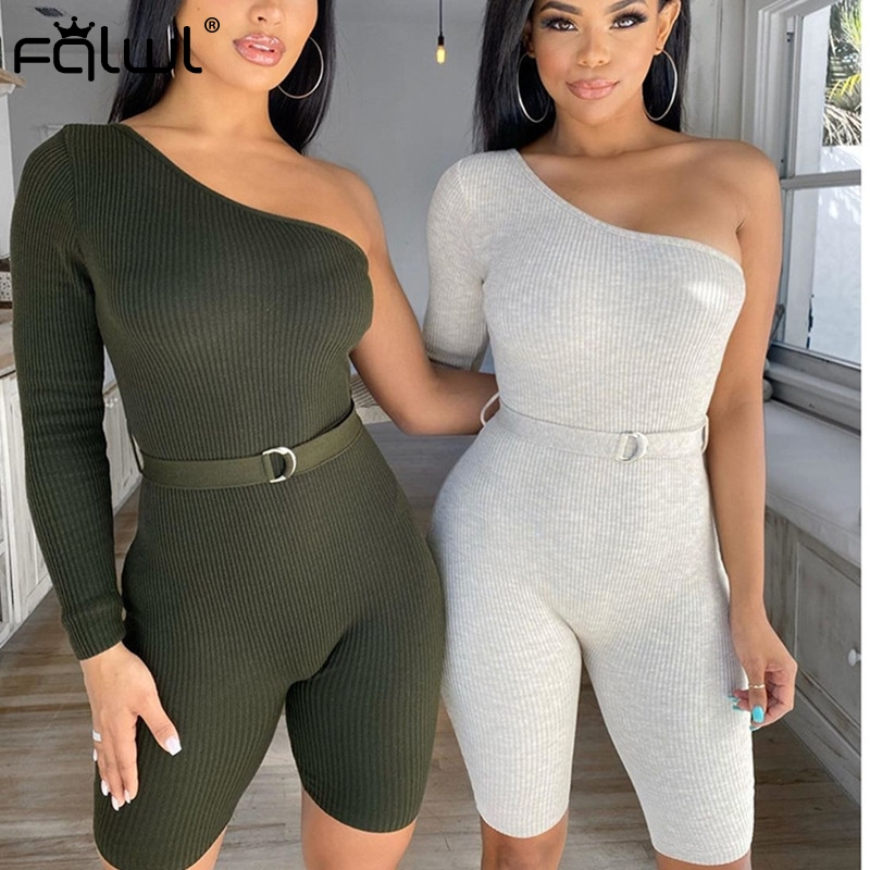 FQLWL Ribbed Knitted Sexy Bodycon Jumpsuit Women Shorts Playsuit 2020 Backless White Black Ladies Rompers Womens Jumpsuit Female