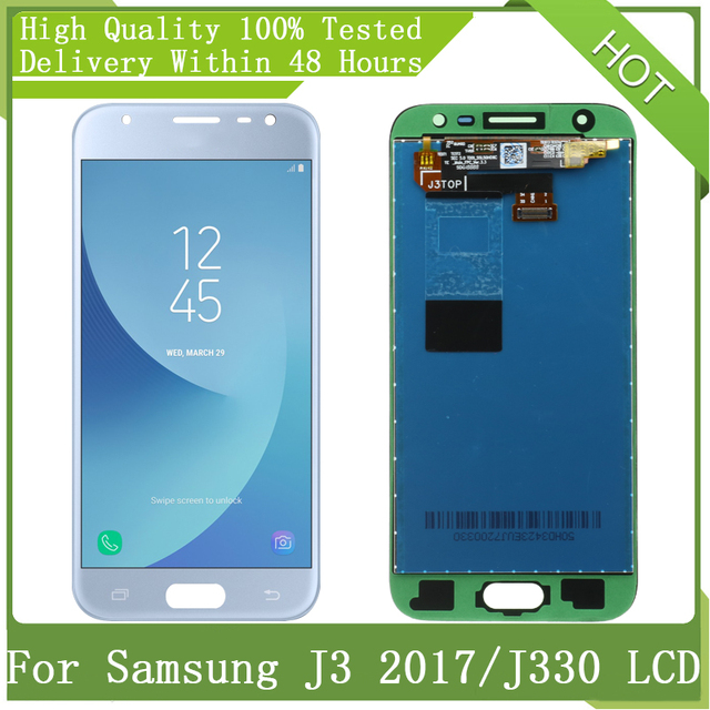 """5.0 """"ใหม่AMOLED LCDสำหรับSamsung Galaxy J3 2017 J330 J330F J3 ProจอแสดงผลLCD Touch Screen Digitizer Assemblyชิ้นส่วน + Service Pack"""
