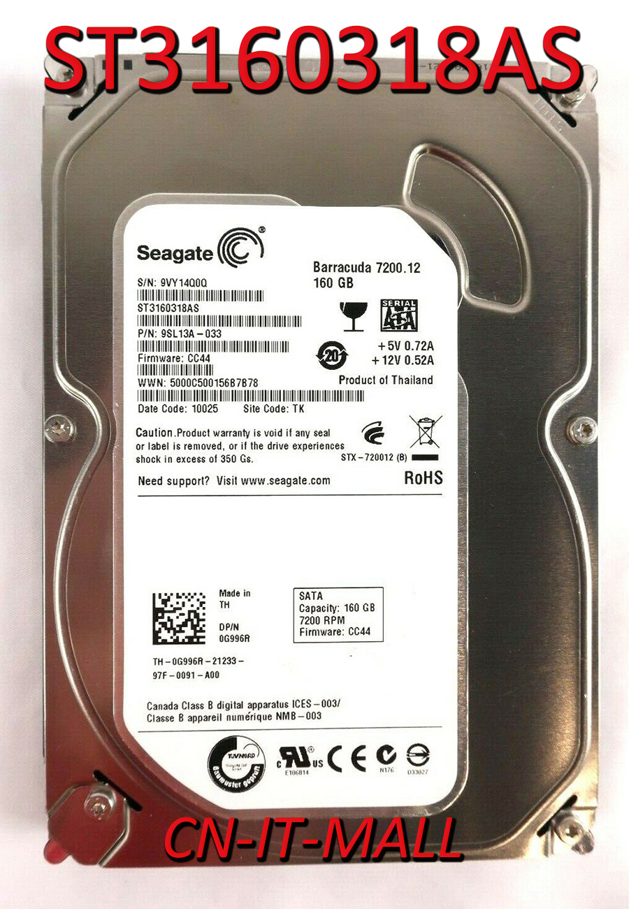 Seagate BarraCuda 7200.12 ST3160318AS 160GB 7200 RPM 8MB Cache SATA 3.0Gb/s 3.5
