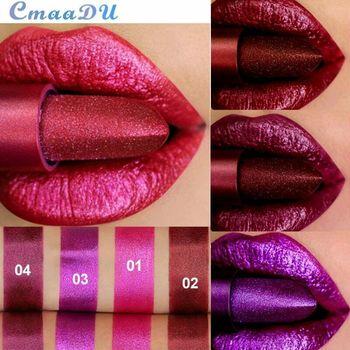 CmaaDu Metal Makeup Lip Stick Waterproof Long Lasting Shimmer Glitter Matte Lipstick Sexy Red Nude Lipsticks Pigment Cosmetics