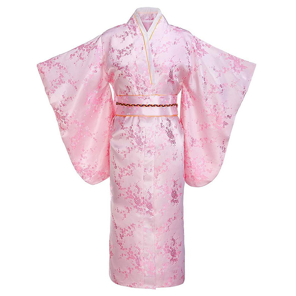 Pink Print Flower Young Lady Japanese Traditional Kimono Bathrobe Gown Full Sleeve Evening Party Prom Dress Satin V-neck Clothes