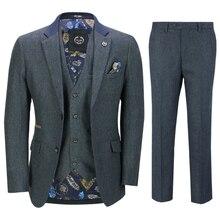 Мужские костюмы 2020 из шерсти, 3 предмета, твидовый костюм с двумя пуговицами, в клетку елочкой, Ретро стиль