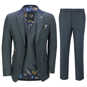 Image 1 - 2020 Mens Suits Mens Wool 3 Pieces Two Button Tweed Suit Herringbone Check Retro Peaky Blinders Tailored Fit NEW
