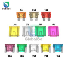 50pcs/Lot Mixed Mini Blade 5A 10A 15A 20A 25 30A 35A 40A AMP Set For Truck Boat Motorcycle Auto Car Small Mini Large Blade Fuse