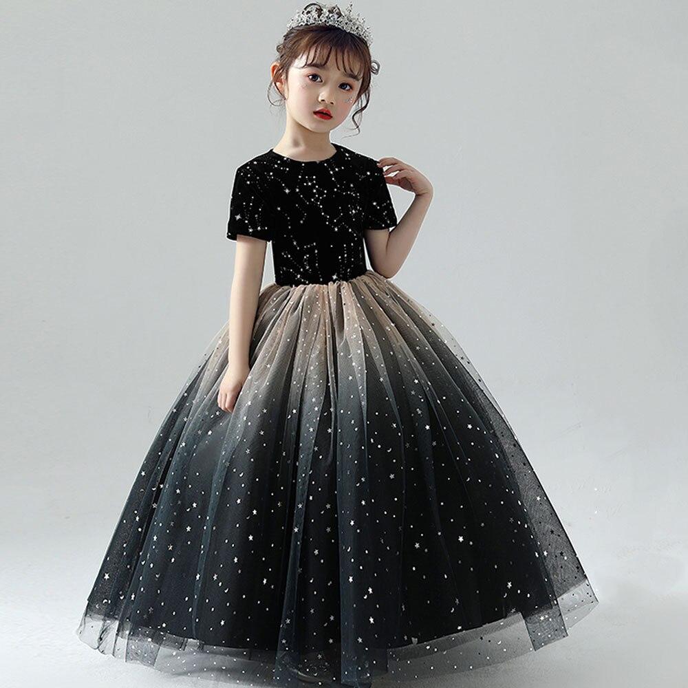 New Girls Black Star Dress Girls Birthday Dress Fluffy Skirt Small Host Small Flower Girl Evening Dress