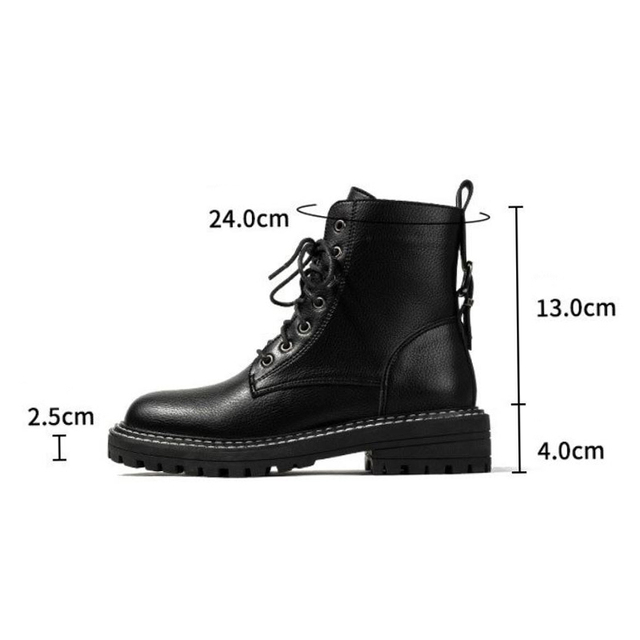 Taoffen ankel boots for women office outdoor women shoes round toe lace flats black leather platform neutral footwear size 35-40