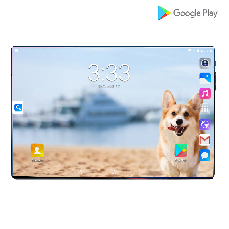 New Google Large Screen 2.5D Glass 10 Inch Tablet Android 9.0 Octa Core 4G LTE 6GB RAM 64GB ROM 8MP Wifi Tablet 10.1 + Gifts