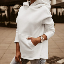 Fleece Warm Women's Sweatshirt Hoodie With a Hood Plain Front Pockets Sweatshirts Women 2020 Autumn Casual Sweety Ladies Hoodies