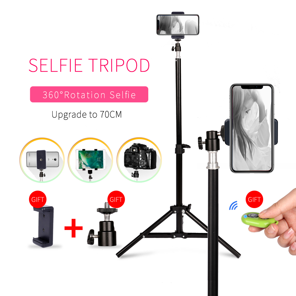 Photography 1/4 Screw Head Selfie Portable Light Tripod Stand With Bluetooth Remote Phone Clip Ball Head For Mini Photo Studio