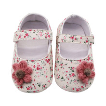 Newborn First Walkers Crib Shoes 2020 Spring Summer Cotton Shoe for Baby Girls Sweet Pink Princess Shoes Infant Non Slip Booties
