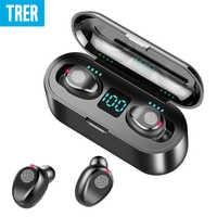 Auriculares inalámbricos Bluetooth 5,0 Control táctil pantalla LED auriculares Bluetooth con auriculares con micrófono estéreo BANCO DE ENERGÍA DE 2000 mah