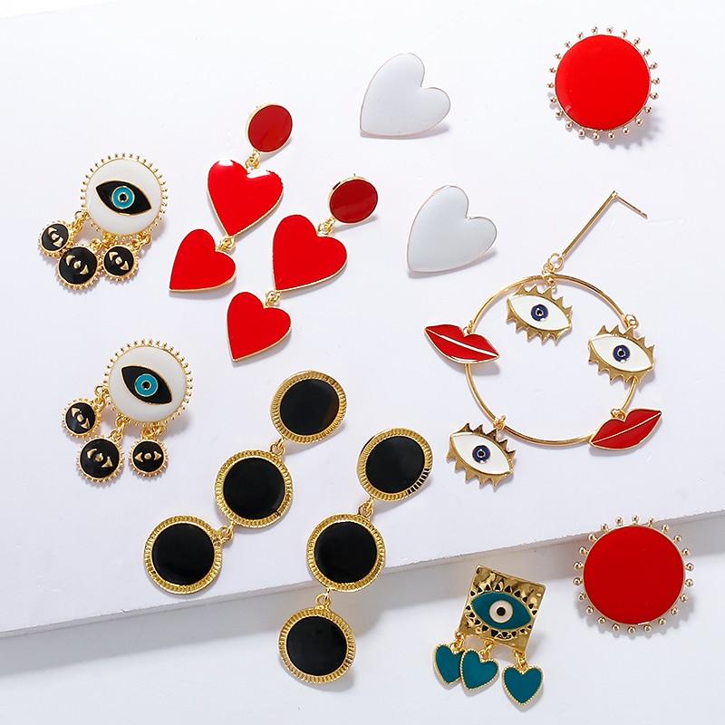 AENSOA 2020 New Fashion Statement Earring Women Unique Design Bohemia Metal Gold Color Eye Heart Lips Long Round Drop Earrings