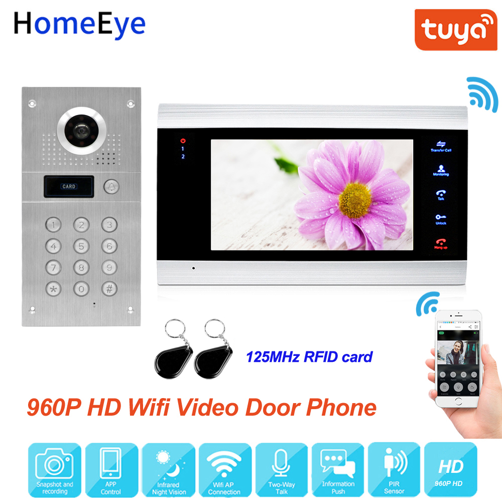 Tuya Smart App Remote Control WiFi IP Video Door Phone Video Intercom Access Control System Motion Detection Code Keypad ID Card