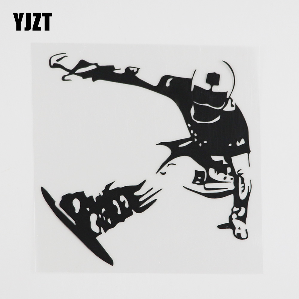 Виниловая наклейка для сноуборда YJZT, 13,1 смх13, 3 см, для зимнего спорта, экстремального катания на сноуборде, черный/серебристый, 8A-0346
