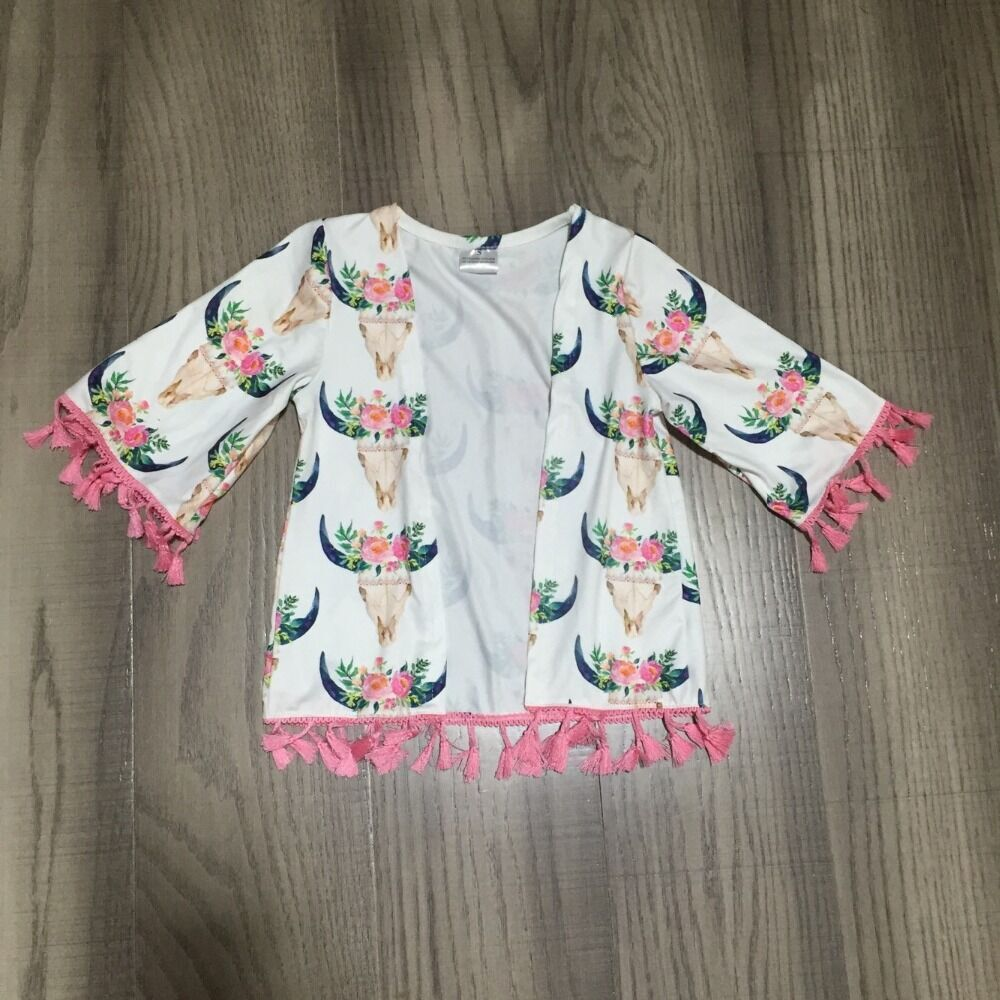 Baby Girls Raglan Girls Cow Top Baby Girls Summer Raglans With Floral Cow Head Print