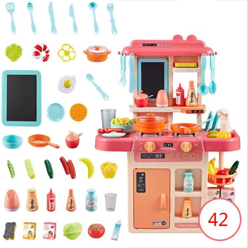 42Pcs/Set Simulation Kitchen Toy Spray Water Dinnerware Children's Toys Cooking Table Set 19QF