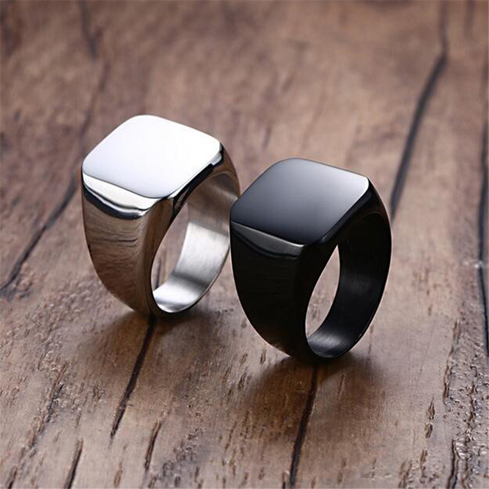 High Quality 2018 New Stainless Steel Black Men's Rings All gloss Square Solid Titanium Classic Ring Wedding Engagement Jewelry|Rings| - AliExpress