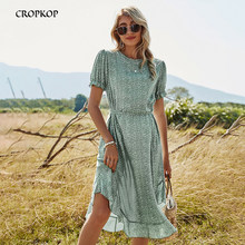 Summer Ruffled Puff Sleeve Midi Woman Dress With Floral Pattern 2021 Casual Dresses For Women Clothes Female Ladies Green