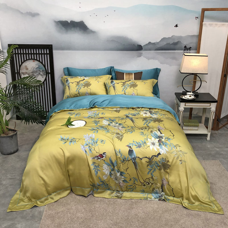 Yellow Chinoiserie Chic Blossom Duvet Cover Birds And Tree Branches Tencel Silk Soft Breathable Bedding Set Bed Sheet For Summer