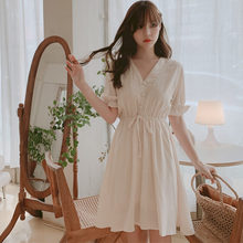 Plus size New Lace up Summer Dress Girls Boho Party Chiffon Female Vintage Dress white Short Sleeve Women Dresses Robe Vestido