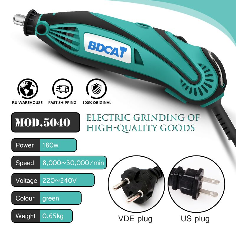 Image 2 - BDCAT 180W Electric Grinder Tool Mini Drill Polishing Variable Speed 207pcs Rotary Tool Kits with Power Tools Dremel AccessoriesElectric Drills   -