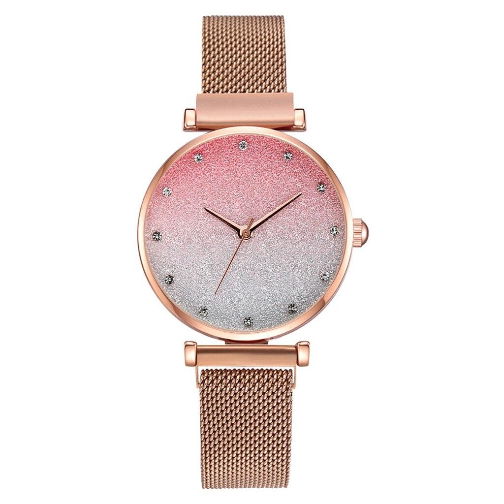Luxury Ladies Watch Women Frosted Gradual Color Calendar Magnetic Buckle Quartz Watch Girl Wristwatch часы женские Reloj Mujer/d