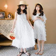 2020 summer new white feather vibrato net red explosion models girl dress strap short sleeve princess long dress