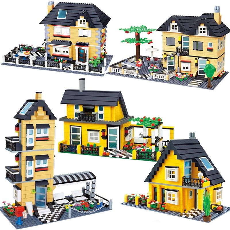 Wange Совместимая модель городской архитектуры, капитальное строительство, вилла, блок, детские игрушки, детские кирпичи, Франция, вилла, дере...