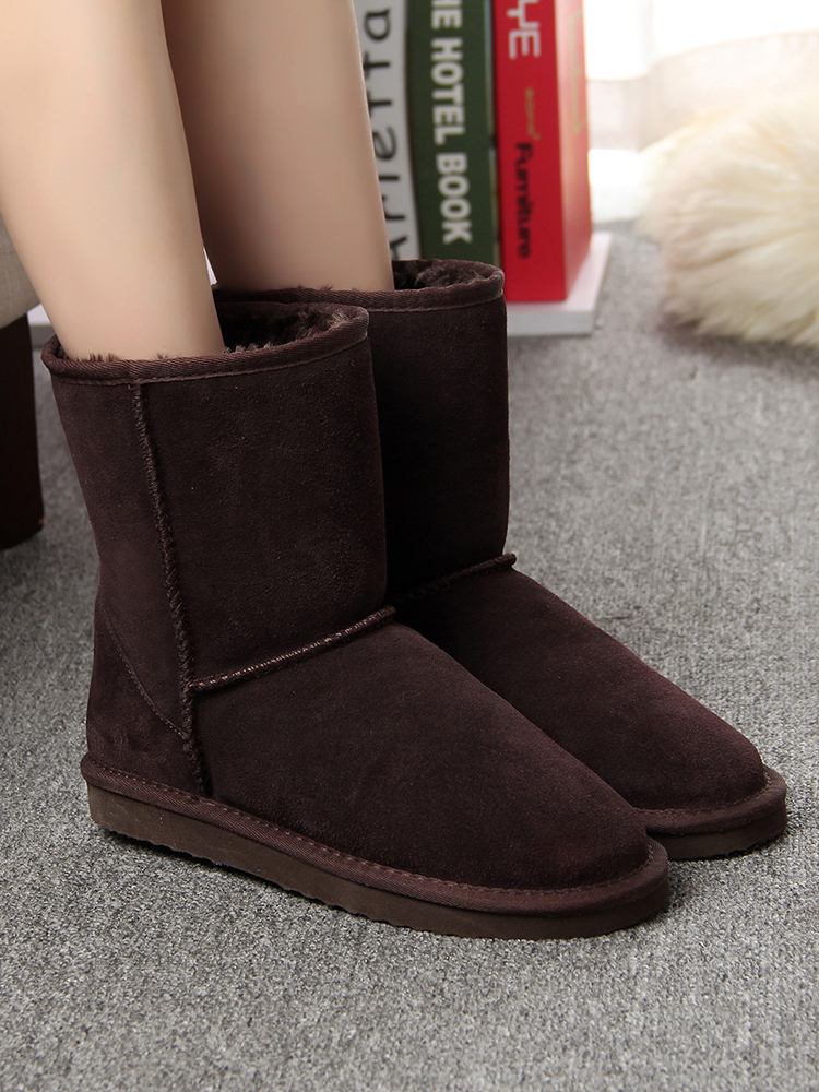 Women Boots Suede Winter Genuine-Leather Real Mid-Calf FOR Mbr-Force Warm Girl