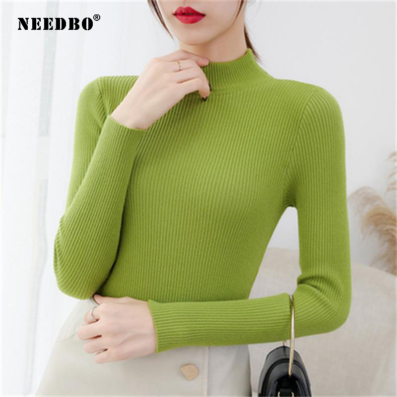 Turtleneck Sweater Women Long Sleeves Women Sweater Pullover Sweater Sexy Elastic Bodycon Pull Femme Women's Knitted Sweaters