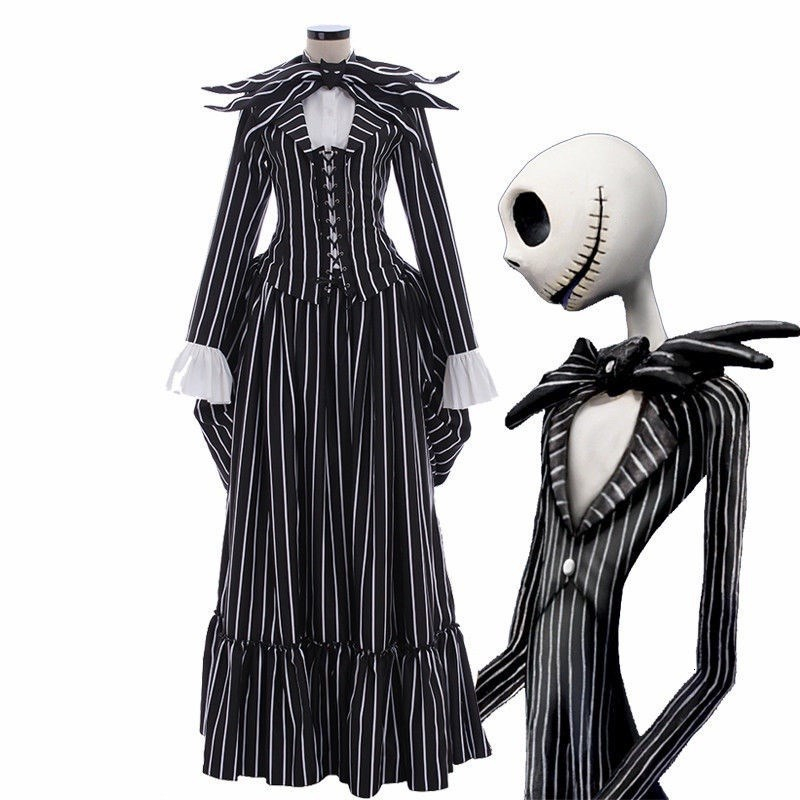 New The Nightmare Before Christmas Jack Skellington Cosplay Costume  Black Stripe Suit Jacket Party Halloween Dress Unisex