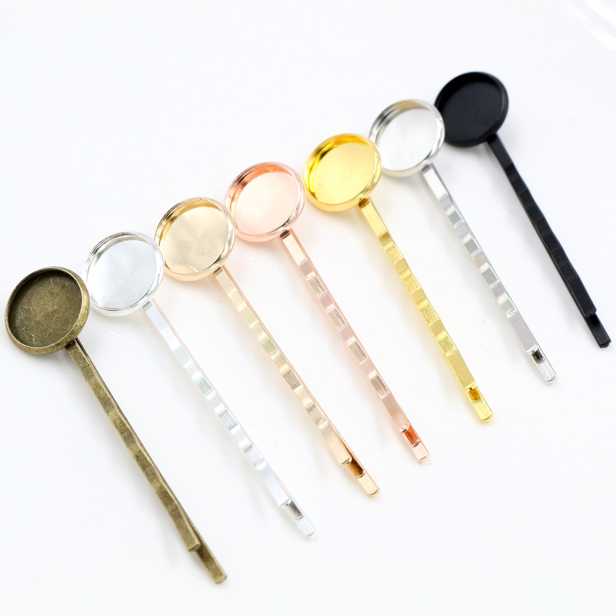 12mm 10pcs High Quality Classic 8 Colors Plated Copper Material Hairpin Hair Clips Hairpin Base Setting Cabochon Cameo