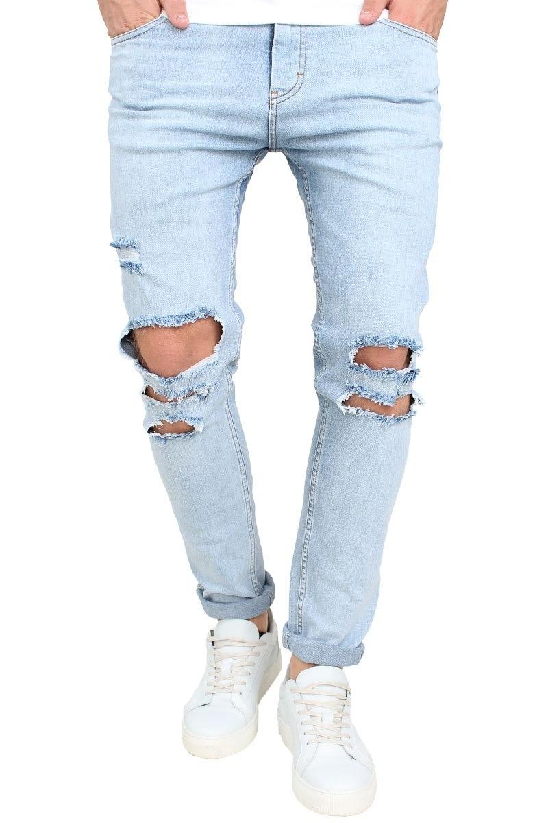 2017 Summer New High Street Fashion Men Jeans Light Blue Color Denim Ripped Jeans Men Skinny Distressed Designer Pants Joggers